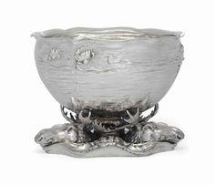 An American Art Nouveau Silver Punch Bowl, circa 1900.