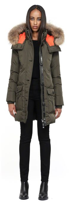 Mackage - CHASKA-F4 LONG ARMY WINTER DOWN PARKA COAT FOR WOMEN WITH FUR HOOD