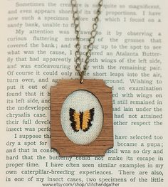 Embroidered Necklace  Butterfly by StitchandGather on Etsy