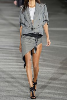 Anthony Vaccarello Asymmetric striped denim mini skirt  NET-A-PORTER.COM