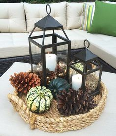 A beautiful Fall centerpiece is the perfect way to celebrate the season, and any DIYer's dream. And centerpieces these days are not just one size fits all Christmas Centerpieces, Wedding Centerpieces, Wedding Table, Autumn Centerpieces, Centerpiece Ideas, Fall Decorations, Table Lanterns, Fall Table, Furniture Makeover