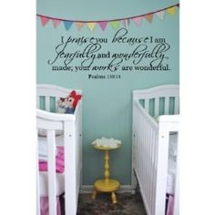 Amazon.com: I praise you because Psalm 139:14 36x11 wall decal saying vinyl: Home & Kitchen