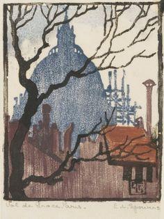 Ethel Spowers (Australian, 1890-1947), Val-de-Grâce, Paris, 1923, woodcut, 10.2 x 8.1, Sydney, Art Gallery of New South Wales