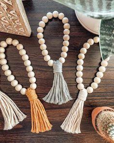 made accessories boho Macrame Beaded Tassel Accessory Rear View Mirror Accessories, Boho Accessories, Handmade Accessories, Wood Bead Garland, Beaded Garland, Handmade Crafts, Handmade Jewelry, Diy Jewelry, Handmade Beads