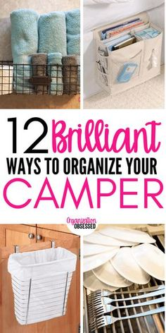 12 ways to organize your camper or RV. These camper organizing hacks will make it super easy to go camping and have an amazing trip! 12 Brilliant Ways To Organize Your Camper or RV - Organization Obsessed Camping Survival, Camping Hacks, Travel Trailer Camping, Camping Essentials, Camping Gear, Tent Camping, Family Camping, Glamping, Travel Trailers