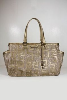 Versace Handbags Mocha (Brown) Gold Canvas and Leather DBFD081