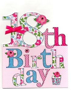 Large 18th Birthday Greeting Card Happy Quotes Wishes For Her