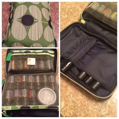 I use an orla kiely etc cosmetic bag to carry my doTerra essential oils. I can hold 6 15ml bottles in the side pocket, 14 5ml bottles in the center pocket, and 7 roller bottles in the other side pocket. I took a few 5ml bottles out to carry a small Tupperware container with some gel caps. I can carry a lot do oils in this little bag! Love it. From Target.