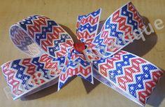 Blue Stars & Red Stripes Chevron 4th of July Pinwheel Hair Bow