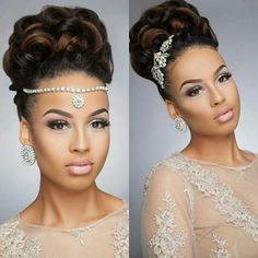 Black Wedding Hairstyles for Black Brides to Feel Special.We have rounded up 25 most amazing Black wedding hairstyles/ bridal hairstyles that look great on black women for long and any varied hair … African American Braids, African American Weddings, Black Wedding Hairstyles, Black Women Hairstyles, Hairstyle Wedding, Black Hair Wedding Styles, Wedding Updo Black Hair, Wedding Curls, Prom Updo