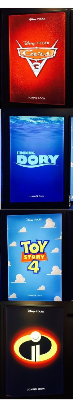 Posters of future Pixar movies presented at the D23 Expo