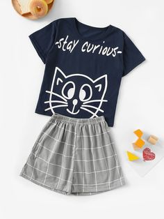 To find out about the Girls Cat & Letter Print Plaid Pajama Set at SHEIN, part of our latest Girls Loungewear ready to shop online today! Cute Pajama Sets, Cute Pjs, Cute Pajamas, Pajamas Women, Pajama Outfits, Girl Outfits, Cute Outfits, Fashion Outfits, Cute Sleepwear