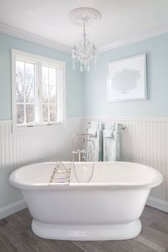 House of Turquoise: Supply New England's Kitchen and Bath Gallery- Ewing blue benjamin moore Blue Bathroom Decor, All White Bathroom, Bathroom Colors, Bathroom Interior, Modern Bathroom, Minimalist Bathroom, Shiplap Bathroom, Bathroom Marble, Bathroom Cabinets