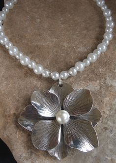 Large metal pearl flower on beaded necklace by Nanettemc on Etsy, $16.00