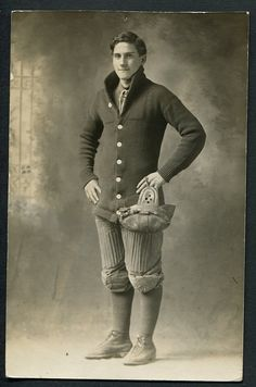 Just guessing here... but an informed guess!  Unknown photographer. 'American football player' c. 1900-1920 Albumen print