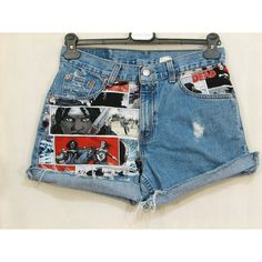 Ready to Ship Vintage Denim Cut Off Shorts Walking Dead Comics Blood... ($35) ❤ liked on Polyvore featuring shorts, bottoms, grey, women's clothing, patterned shorts, vintage denim shorts, cut off short shorts, grey denim shorts and vintage shorts