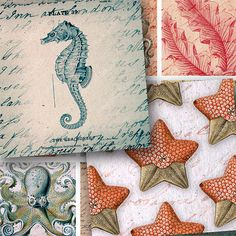 Brand New -- Sailing the Ocean in 1.5-inch squares -- Seahorses, Ships, Octopus, Jellyfish, Starfish, Coral -- #printables by piddix, digital collage sheet 906