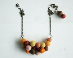 Felt Balls Necklace Orange Brick Brown Yellow Peach by TraLaLand, €25.00