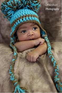 TURQUOISE Newborn Baby Boy Crochet Hat With Ear by jerribeccahats, $15.99