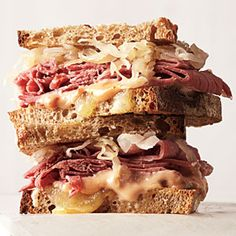 With sauerkraut, corned beef, and rye bread, sodium is a serious issue in a traditional Reuben. Add dressing and cheese, and the saturated fat and calories start to climb, too. Not to fear: Our lighter, lower-sodium version is just as delicious. Chili sauce is a ketchup-based sauce. If you can't find it, substitute ketchup.  Click pic for recipe.