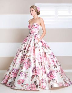 flower print ball gown