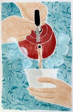 White Line Woodcut   Zea Mays Printmaking