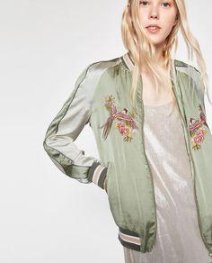 鳥刺繍入りボンバージャケット-オーバーコート-レディ-ス | ZARA 日本