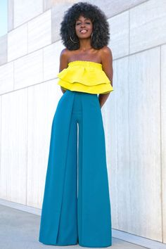 Cropped Ruffle Top + Box Pleat Wide Leg Trousers Trouser Outfits, Skirt Outfits, Trousers Fashion, Pretty Outfits, Cute Outfits, Modest Fashion, Fashion Outfits, Style Pantry, Wide Leg Trousers