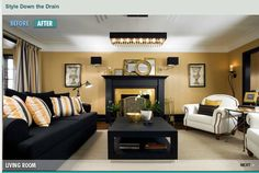 yellow, black gold living room- never thought of these colors!! So cute for family room idea