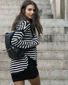 striped mock neck shirttail hem sweater