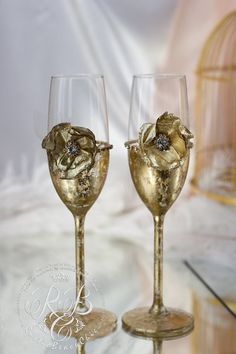 Autumn wedding toasting glasses bride and groom от RusticBeachChic