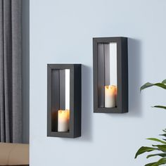 Showcase your decorative candles on the Danya B. Set of 2 Vertical Mirror Pillar Candle Sconces with Metal Frame. For dim lit evening romance, light scented pillar candles and keep your interior lighting at a minimum. The vertical mirror diffuses lig Mirror Candle Sconce, Mirror Set, Black Mirror, Wall Candle Holders, Room Decor, Wall Decor, Iron Wall, My New Room, Interior Lighting
