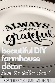 Learn how to make your own DIY farmhouse décor with items from the Dollar Store! In this tutorial I share how to make a beautiful farmhouse tiered tray using only a few supplies from the Dollar Store!   #tieredtray #dollarstore #diy Diy Home Decor Projects, Easy Projects, Decorating Your Home, Decorating Ideas, Decor Ideas, Simple Diy, Easy Diy, Paint Prep, Farmhouse Décor