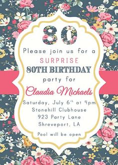 Birthday Card Ideas : Floral Milestone Birthday Modern Invitation any age 90th Birthday Invitations, 50th Birthday Party, Party Invitations, Birthday Cards, Birthday Wishes, Grandma Birthday, Milestone Birthdays, Party Time, Etsy