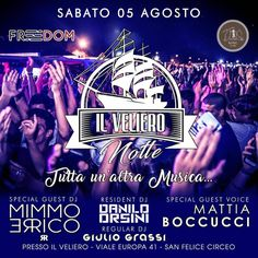SABATO 5 AGOSTO IL VELIERO NOTTE #tuttaunaltramusica ➡️ Resident Dj: Danilo Orsini  ➡️ Special Guest Dj: Mimmo Errico  ➡️ Regular Dj: Giulio Grassi ➡️ Special Guest Voice: Mattia Boccucci 10€ uomo c.o. Omaggio donna Info: 3921888281 #ilvelieronotte #freedom   #house #tekhouse #tribal #futurehouse #dj #producer #reggaeton #electrohouse #itunes #beatport #latinhouse #hearthis #soundcloud #youtube #edmfamily #party #festival #ultramusicfestival #electromerengue #musiclovers #remixer #vinyl…