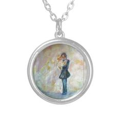 Wedding Dance Whimsical Designer Art Necklace Jewelry Exquisitely gorgeous, you will LOVE our Stunning Wedding Dance Whimsical Art Designer Sterling Silver Necklace. This necklace features a stunning color palette inspired by the lush green gardens of the English Country-side. The perfect Wedding Gift! Designed by artist Marie-Jose Pappas of Innocent Originals.  http://www.zazzle.com/innocentoriginals*