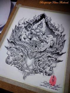 Om Tattoo Design, Tattoo Designs, Dragon Tattoo Full Back, Thailand Art, Tattoos, Drawings, Tattoo Ideas, Japanese Drawings, Tatuajes