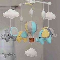 Diy baby mobile - Elephant Mobile Hot Air Balloon Mobile Custom by TayloredWhimsy – Diy baby mobile