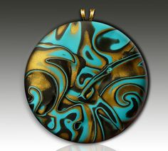 One-of-a-kind polymer clay pendant by adrianaallenllc on Etsy