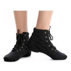 Black Canvas Lace Up Comfy Breathable Jazz Ballet Dance Shoes