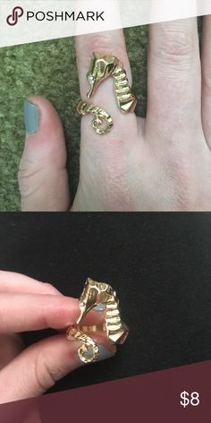 Seahorse ring Gold seahorse ring with diamond stud for eye. Jewelry Rings
