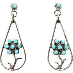 Southwestern Vintage Turquoise Pierced Earrings Snake Eye Dots Floral Sterling Silver