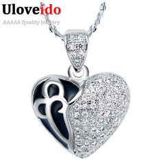 Find More Others Information about New Heart Style Necklace For Women CZ Diamond High Quality  925 Sterling Silver Black Enamel Anniversary Gift Uaib N623,High Quality necklace lion,China necklace hollywood Suppliers, Cheap necklace bike from ULOVE No.2 Fashion Jewelry Store  on Aliexpress.com