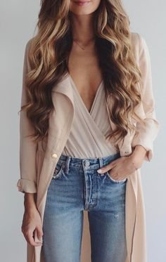 summer outfits Blush Trench + Blush Wrap Top + Skinny Jeans