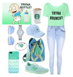 """TRYNA BOTTLE?"" by carolsha on Polyvore featuring Glamorous, New Balance, Intermix, Geneva, Unwritten and Casetify"