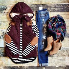 You had me at burgundy and fur hood. Burgundy vest with faux fur-lined hood (not removable) and faux suede accents. Fits true to size. Cute Fall Outfits, Fall Winter Outfits, Autumn Winter Fashion, Casual Outfits, Winter Style, Vest Outfits For Women, Women Pants, Winter Clothes, Winter Dresses