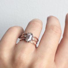 Hex diamond + double band + open cuff.