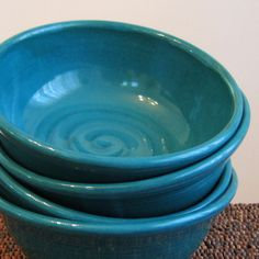 Soup or Cereal Bowls in Peacock Blue  Set of 4 von KarinLorenc