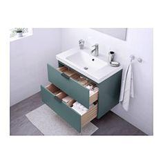 GODMORGON / ODENSVIK Mosdószekr 2 fiókkal,csapt.nélk - világos szürke - IKEA