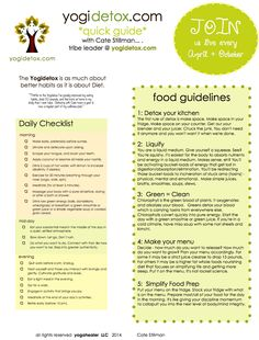 Detox Cheatsheet: Daily Checklist + Food Guidelines